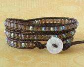 Beaded leather wrap bracelet, brown, boho chic, neutral, chan luu style