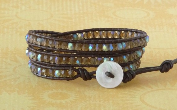 Beaded leather wrap bracelet, brown, boho chic, neutral, chan luu style