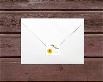 100 Sunflower Wedding Envelope Seals. Personalized Sticker Labels.