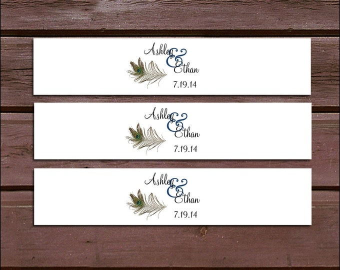 100 Peacock Feathers Wedding Invitation Belly Bands Wraps