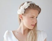 Bridal lace accessory with clear beads / Wedding hair accessory / Bohemian wedding hair adornment / Ivory head piece / Alligator clips