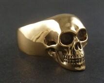 Statement Ring - Skull Ring - Bronze Human Skull Ring