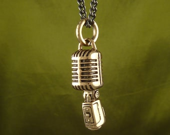 "Microphone Necklace Bronze Microphone Pendant on 24"" Gunmetal Chain - Music Jewelry"