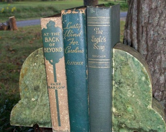 Books Vintage Trio Green Library Shelf Decor At The Back Of Beyond Lusty Wind From Carolina & Eagles Song