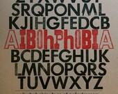 letterpress print // AIBOHPHOBIA // hand-set 12 x 12 typography print