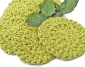 Organic Cotton Face Scrubbies, Green Reusable Facial Pads, Mini Cloths Gift Set, Ready to ship
