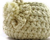 Creamy White Handmade Bowl Flower Accent, Organic Cotton Basket, Eco friendly Natural Fiber