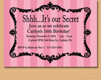 Pink striped sweet 16 birthday or other party invitation / striped with swirl frame