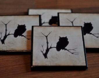 Rustic Owl Silhouette Coasters