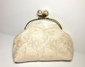 Bridal Clutch with Ivory Flowered Trim and Pearl Ball Frame