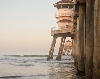 The Huntington Beach Pier - Ocean Pier Beach Cottage Fine Art Photography Print