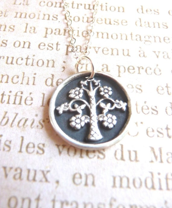 Spring wax seal charm tree with flowers hand made from recycled fine silver