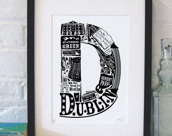 Best of Dublin print - Ireland poster - Irish art - typographic print