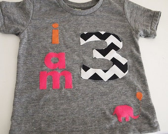 i am Birthday shirt chvron pink orange Customize colors Boys Girls Organic Blend Birthday Tee first birthday shirt