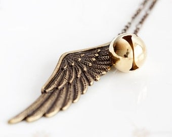 Jingle Bell Angel Wing Necklace Wing Pendant Gold Bell Necklace Feather Charm Guardian Angel Jewelry - N229