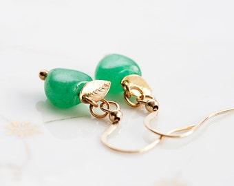 Green Heart Earrings Tiny Gold Leaf Mint Aventurine Stone Earrings Jungle Green Gemstone Jewelry - E210