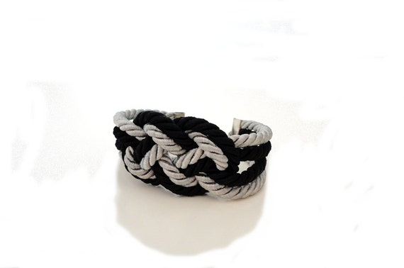 Black and Grey Nautical Sailor's Knot Rope Infinity Bracelet