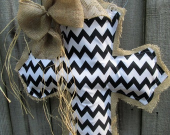 Burlap Cross Burlap Door Hanger Black and White Chevron