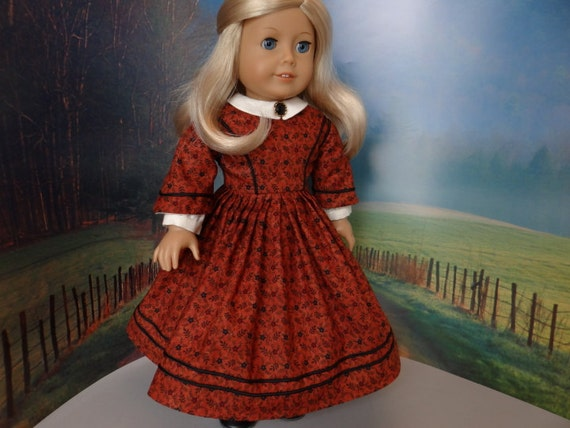 Civil War day dress in dark rust for American Girl or similar 18 inch doll.