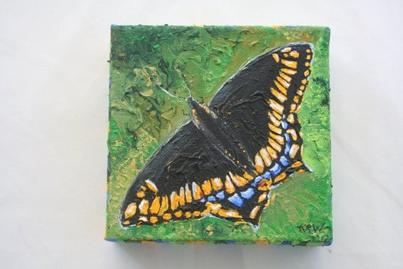 Swallowtail Butterfly Acrylic Painting Miniature 6 x 6 -  Etsy For Animals