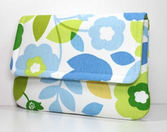 Clutch - Blue, Green, Yellow Leaves and Flowers on White Fold Over Purse with 2 Pockets - Ready to Ship