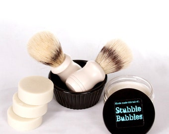 Naturally Derived Stubble Bubbles Shaving Soap in a Variety of Fragrances  - 3 Bars Blended Fresh To Order For You