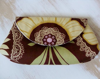 Essentials Clutch with Amy Butler Fabric - Pouch with Magentic Snap and Interior Pocket