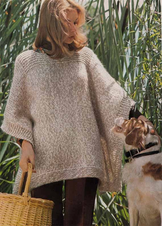 1970s Vintage Knitting Pattern Pdf Woman S Poncho Easy