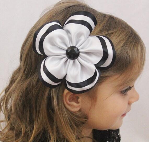 Black Flower Bow With Diamond: Layered White And Black Flower Hair Bow Large Black And