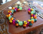 Neon Colored Bead Cluster Bracelet