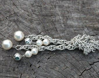 Vintage Silver and Pearl Lariat
