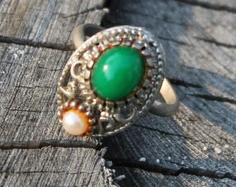 Vintage Jade and Pearl Silver Ring