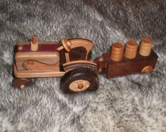 Wooden Tractor with milk cans handcrafted