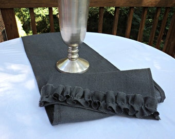 Gray Burlap Table Runner or Choose Your Color Gray Home Decor Table Runner with Ruffles Gray Table Linens Gray Table Settings