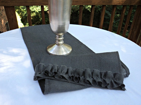 Gray Burlap Table Runner Select your Size and Color
