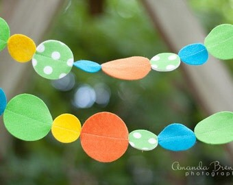 Polka Dot Green Blue and Orange Felt Garland with Bakers Twine