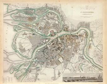1834 Map of St. Petersburg
