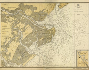 1926 Nautical Chart of Savannah River
