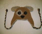 READY TO SHIP - 6 to 12 Months - Short Ear Puppy Crocheted Hat