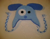 READY TO SHIP - 6 to 12 Month Size - Blue Crocheted Puppy Hat