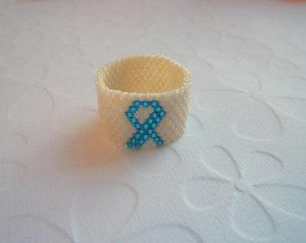 Teal Ribbon Beaded ring, Ovarian Cancer Ring, Teal ribbon, Beadwoven Ring