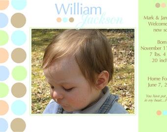 Birth Announcement- Pastel Polka Dots- digital