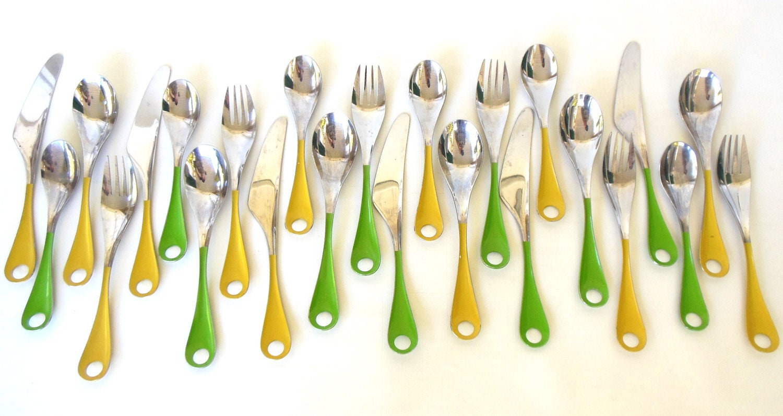 Stainless flatware set bonny lemon yellow lime green danish - Funky flatware sets ...