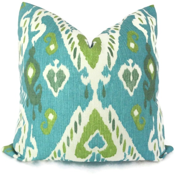 Aqua and Green Ikat Decorative Pillow Cover LUMBAR PILLOW