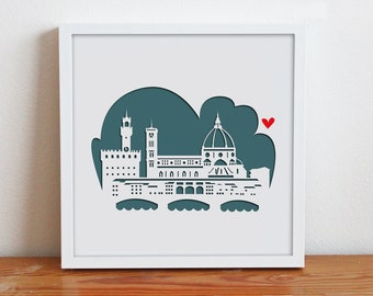 Florence,Italy 11x14 - Personalized Gift or Wedding Gift