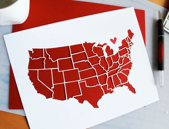 Paper Cut Out of United States Map 11x14 for Gift