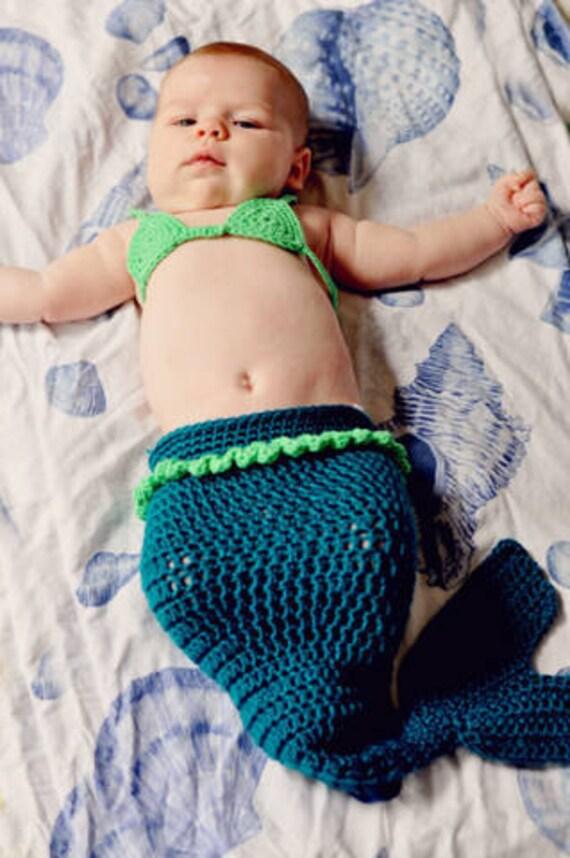 Mermaid Baby Girl Costume Crochet Mermaid Cocoon Tail and Bikini Top Photography Prop - Halloween Costume