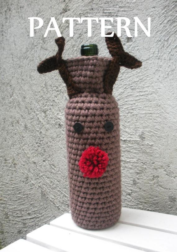 Items similar to PDF Pattern Crochet Rudolph Reindeer Wine ...