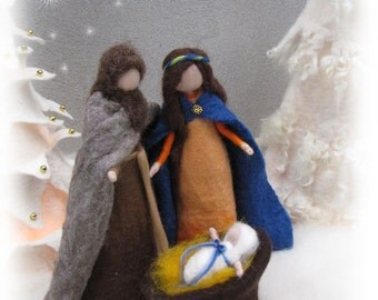 Needle felted and wet felted Nativity Set A felted, Holy Family