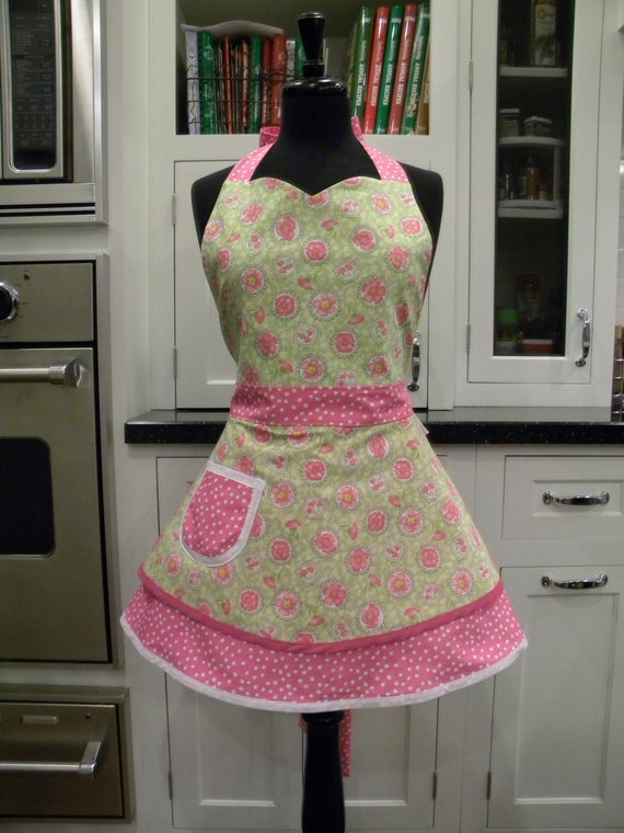 LAST ONE-Floral Full Sweetheart Apron
